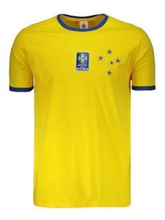 Camiseta Cruzeiro Brasil Com Patch Amarela