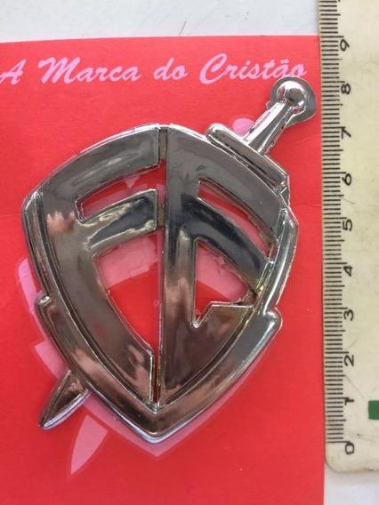 Emblema Adesivo Escudo Fe Cromado Alto Relevo Pequeno