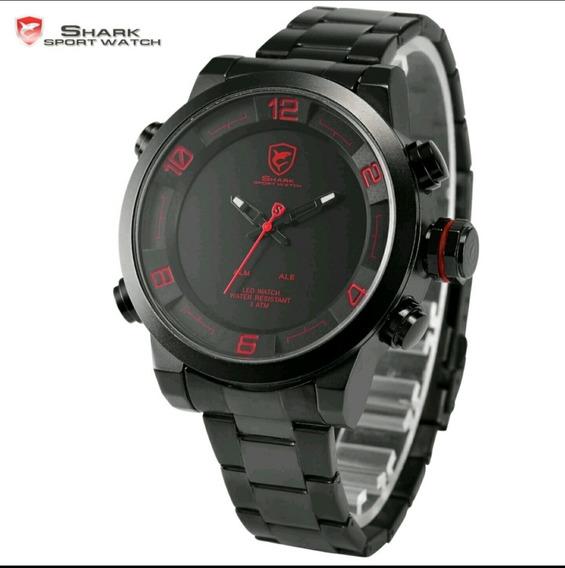 Relógio Masculino Esportivo Shark Aço Inoxid Original Oferta