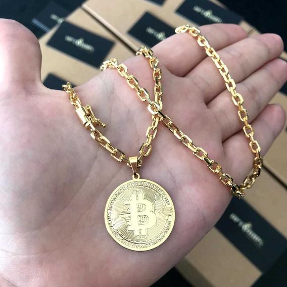 Novidade!! Cordão Cadeado 3,5mm Com Pingente Bitcoin!!