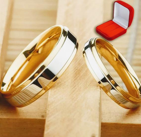 Lindo Par Alianças 6mm Compromiss E Casamento Banhada A Ouro