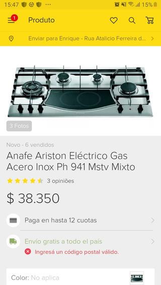 Anafe Ariston Elétrico Gás Acero Inox Ph 941 Mstv Cooktop