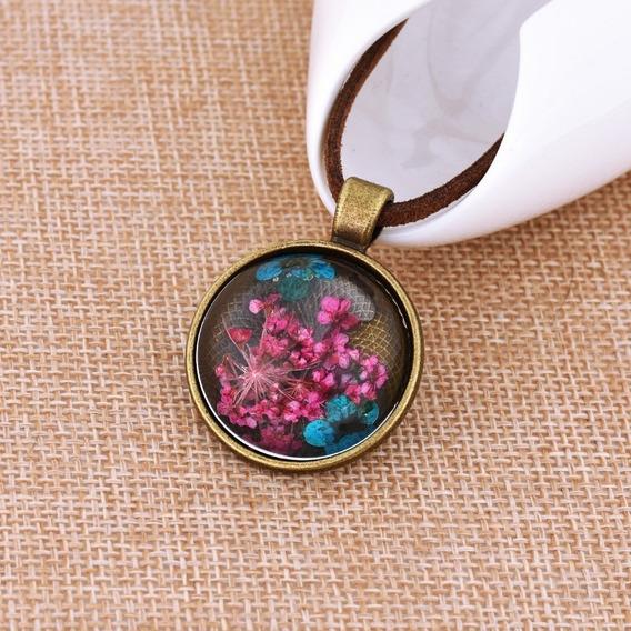 Hermoso Collar Cuerda Flor Natural Encapsulada Cristal, Bola