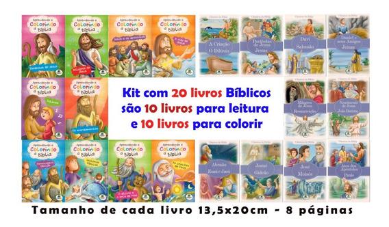 Kit Com 20 Livros Bíblicos - 10 Para Colorir E 10 Para Ler