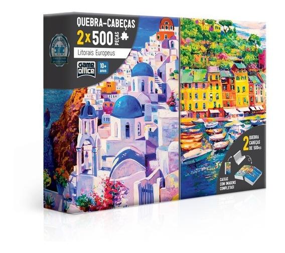 Kit 2 Quebra Cabeça Puzzle 500 Peças Litorais Europeus