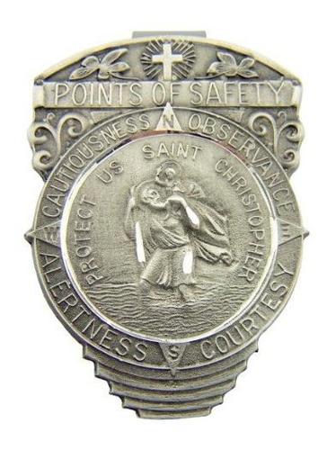 Pewter Saint Christopher Punto De Seguridad Auto Visor Clip