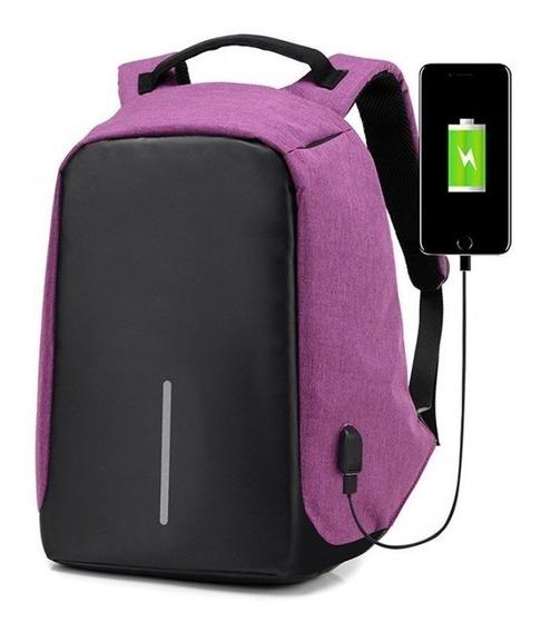 Mochila Antirrobo Urbana Smart Carga Con Puerto Usb Acolchada Notebook Tablet Celular Laptop 15.6 Hombre Mujer
