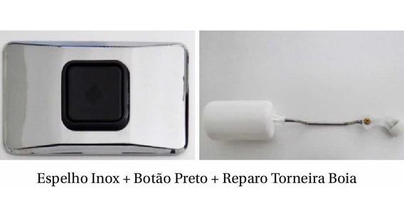 Kit Reparo Espelho Inox Botão Preto Reparo Torneira Montana