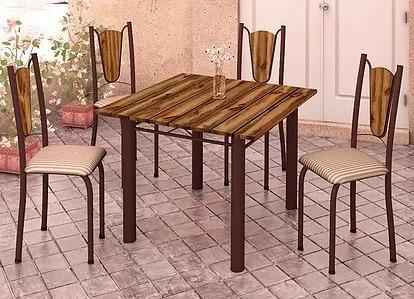 Mesa De Cozinha Demolição 75x75 Com 4 Cadeiras Só Rj