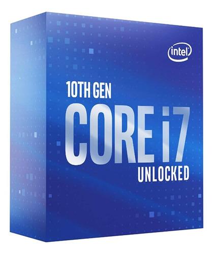 Processador gamer Intel Core i7 10700K BX8070110700K de 8 núcleos e 3.8GHz de frequência com gráfica integrada