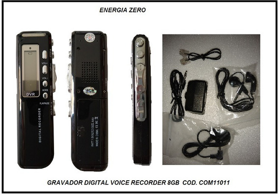 Gravador Digital Voice Record 8gb Cod. Com11011