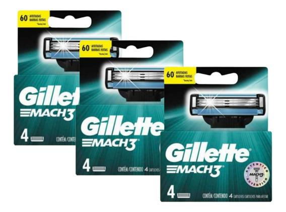 Kit 3 Carga Barbear Gillette C/4 Mach3 Regular Unit