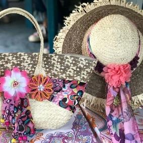 Bolso Y Sombrero En Fibras Naturales
