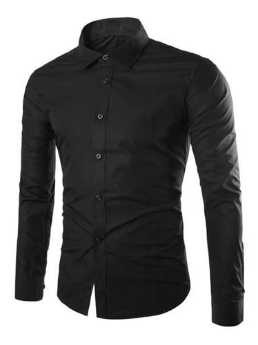 Pack X 3 Camisas Lisas Entalladas Elástizadas Slim Fit