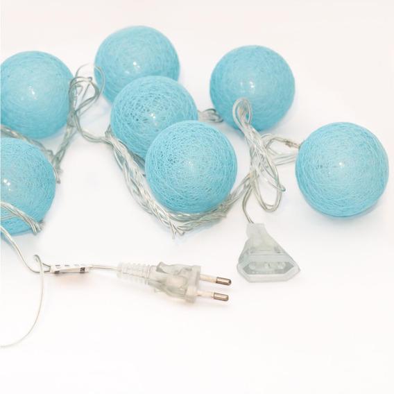 Cordão Fio De Luz Em Led Com 10 Bolinhas Texturizadas - Azul