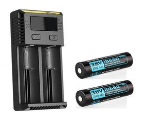 2x Baterialight 18650 3500mah 10a + Carregador Nitecore I2