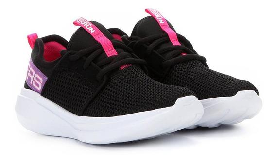 Tênis Infantil Skechers Go Run Fast Feminino - Preto E Rosa