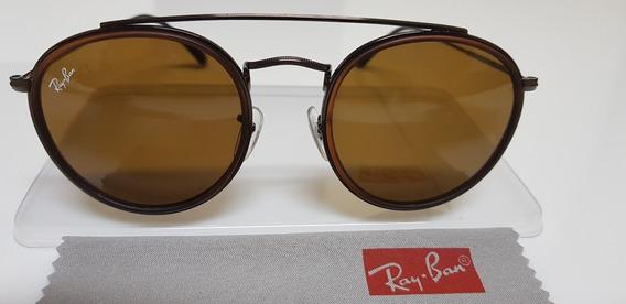 Óculos Sol Ray-ban Round Double Bridge Rb3647 Marrom Clássic