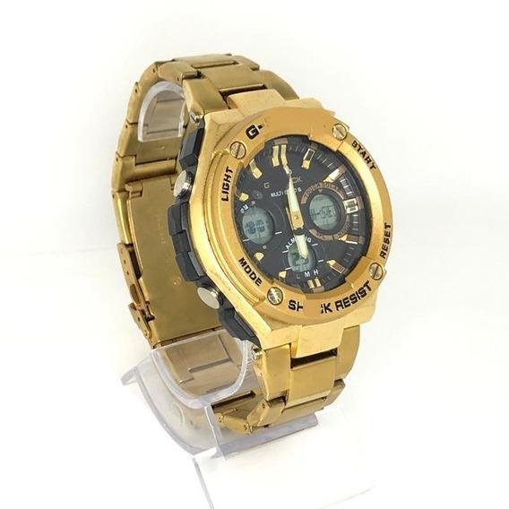 Relógio Masculino G-srock Aço Dourado 2 Máquinas