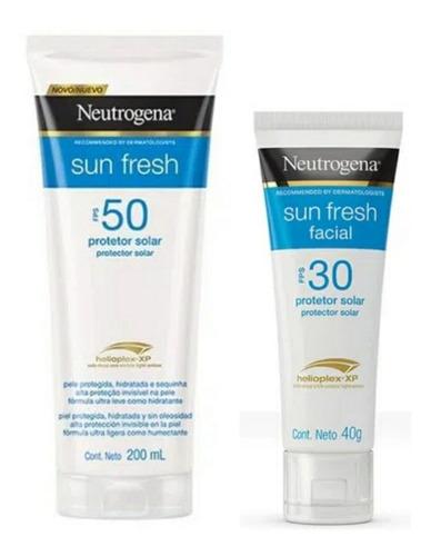 Kit Neutrogena Protetor Solar Sun Fresh Fps50 + Facial Fps30