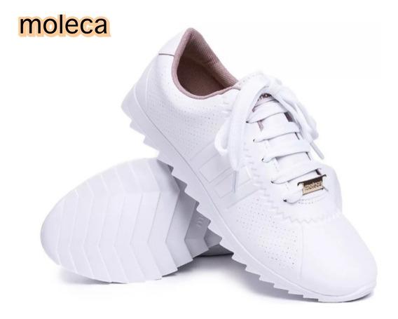 Tenis Feminino Branco Casual Tratorado Moleca Original