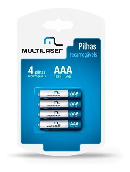 Pilhas Recarregável Multilaser 4 Pilhas 1000 Mah Aaa Oferta
