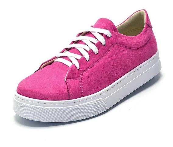 Tênis Casual Feminino Rosa Pink Camurça Amarrar