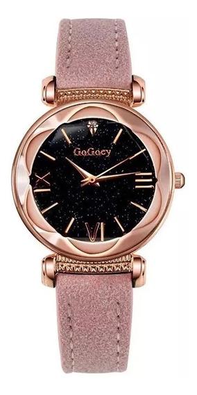 Relógio De Pulso Feminino Dourado Rosa Quartzo Envio Rapido