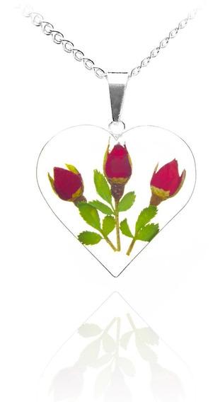 Dije Corazón Grande Trans 3 Rosas Tami Joyería
