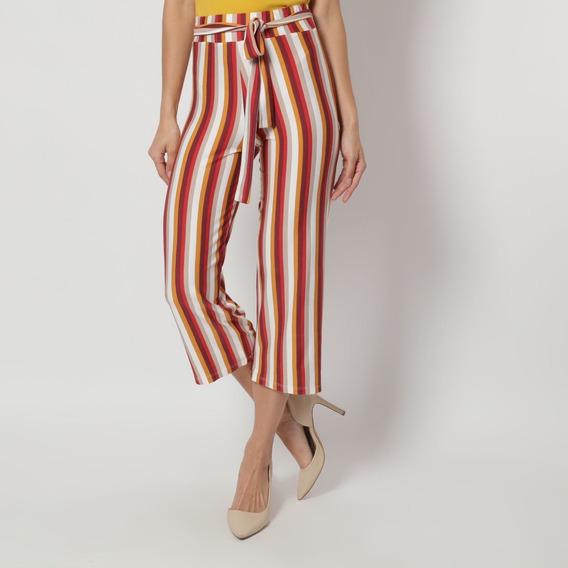 Pantalón Con Diseño De Líneas Mostaza Y Vino