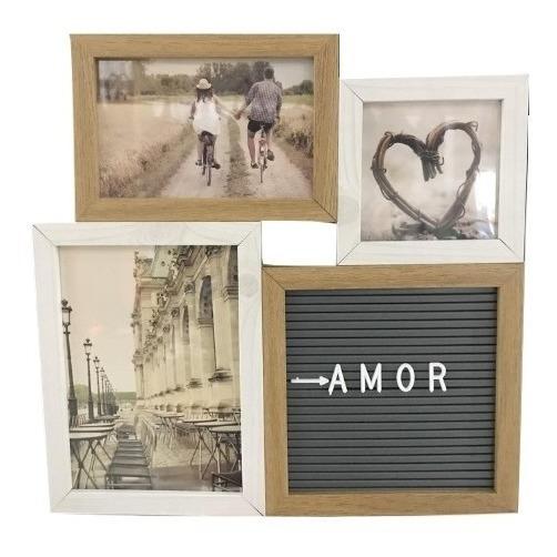 Porta Retrato Para 3 Fotos Com Quadro De Recados (branco)