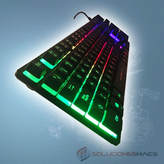 Teclado Gamer Semi Mecanico Micronics Neon Luces Led Rainbow