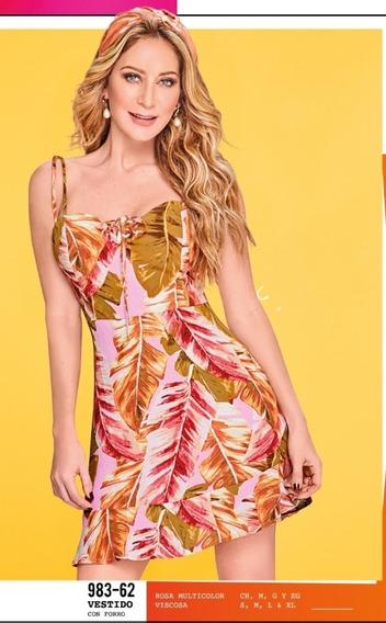 Vestido C/forro Rosa Multi 983-62 Cklass Primavera-verano 20