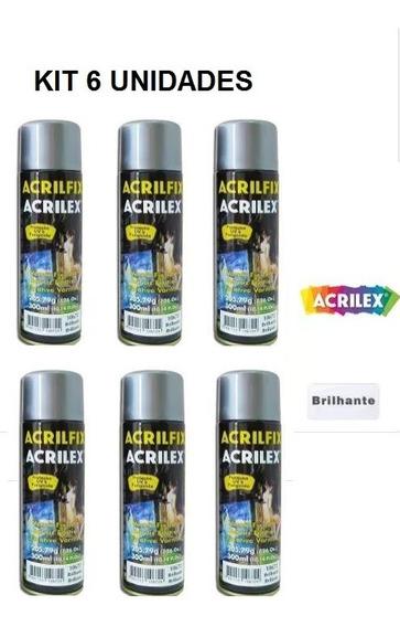 Kit 6 Verniz Fixador Spray 300 Ml Brilhante Acrilfix Acrilex
