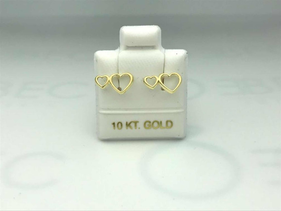 Broquel Piercing Doble Corazón Oro 10k
