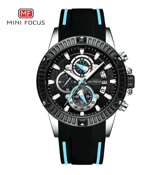 Mini Focus Relógio Masculino Preto Azul Esportivo Borracha