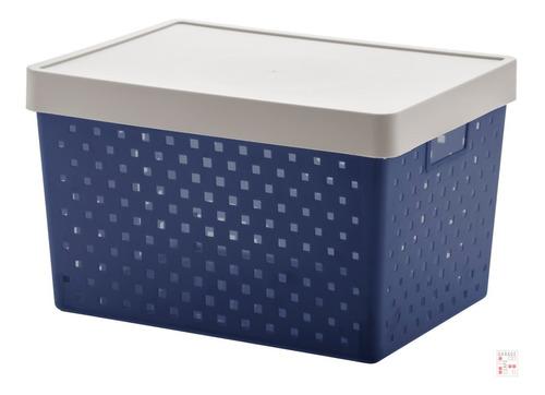 Caja Organizadora Símil Ratan Con Tapa G Calado - Garageimpo