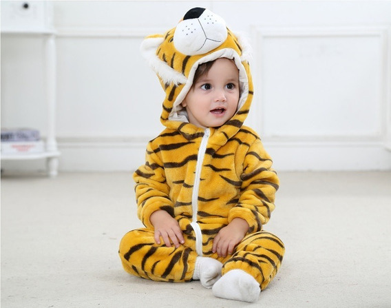 Macacão Bebê Bichinhos Desenho Fantasia Menino Tigre