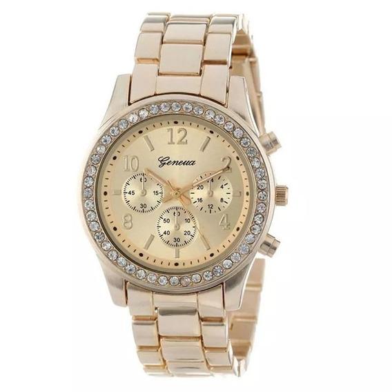 Relógio Feminino Dourado Barato Original Geneva Estiloso