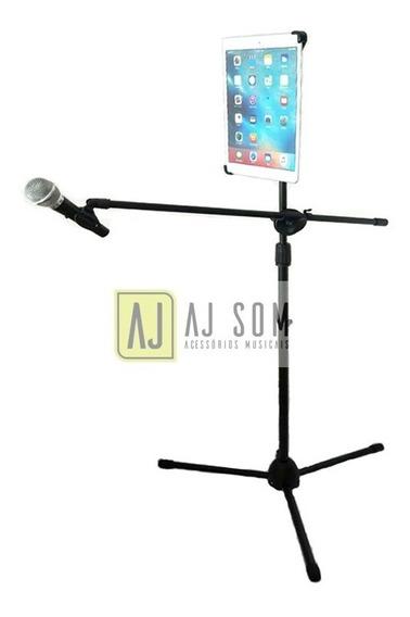 Pedestal De Microfone +cachimbo+estante De Tablets 7-10 Pol