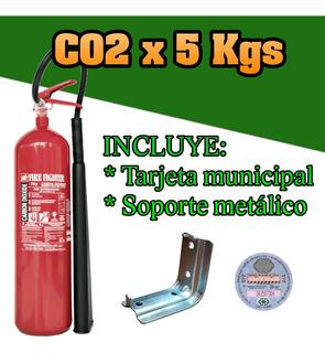 Matafuego Nuevo Bc Co2 X 5 Kg, Tarjeta Municipal, Soporte