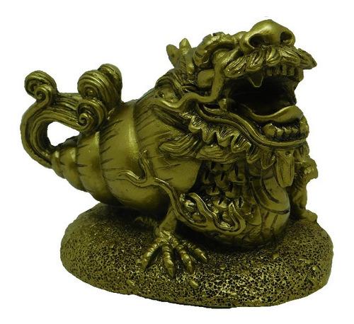 Imagen 1 de 1 de Figura De Dragon Con Cuerno De La Abundancia Feng Shui Nuevo