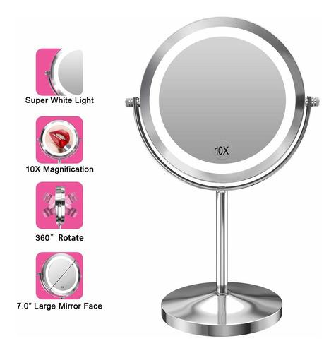 Imagen 1 de 6 de Espejo Redondo De Maquillaje Doble Cara Con 10x De Aumento Y