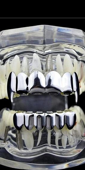 Grillz Dental Dente Cor Prata Moda *presas Tipo Vampiro*
