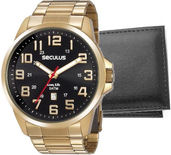 Relógio Seculus Masculino Dourado Grande Original