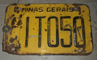 Placa Amarela De Moto Antiga Com Lacre Minas Gerais Original