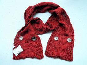Liz Claiborne Bufanda Roja Medium Knit .. Buttons