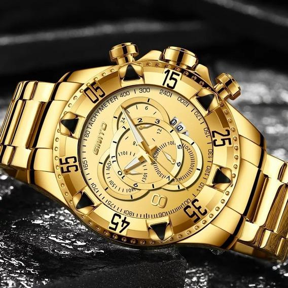 Relógios Masculino Dourado A Pronta Entrega Promoção