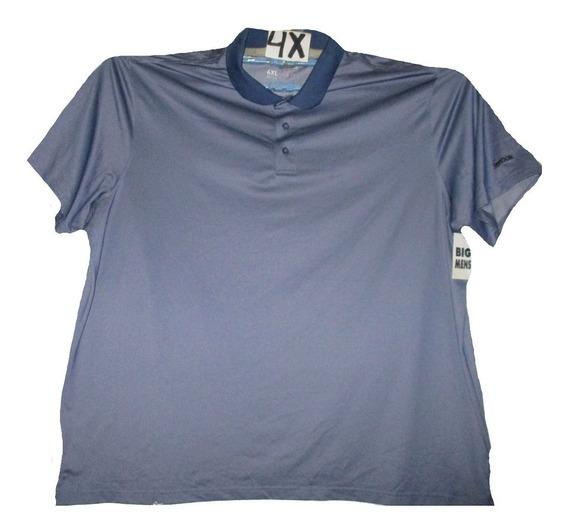 Camiseta Azul Acero Tipo Polo Talla 4x Reebok