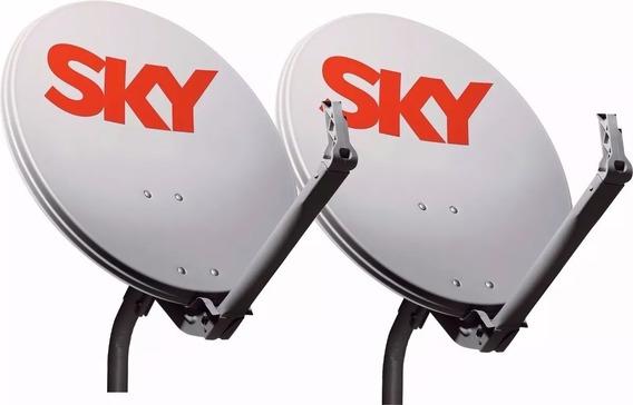 Kit 6 Antenas Ku 60cm Cabo Lnb Duplo Conector Promoção!